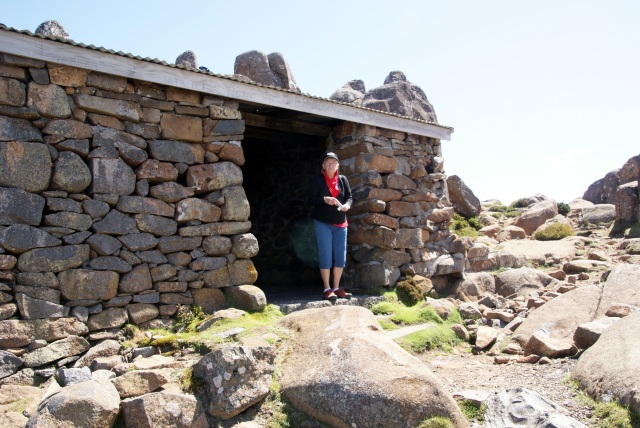 Margaret (cold) at the fireplace hut on Mt Wellington (sorry complete fire ban today)