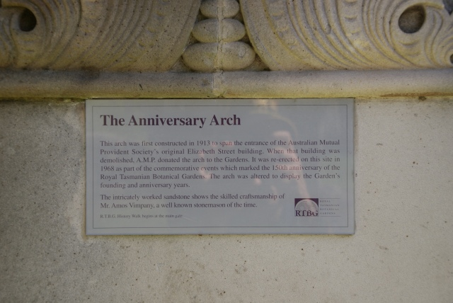 Plaque explaining the Anniversary Arch