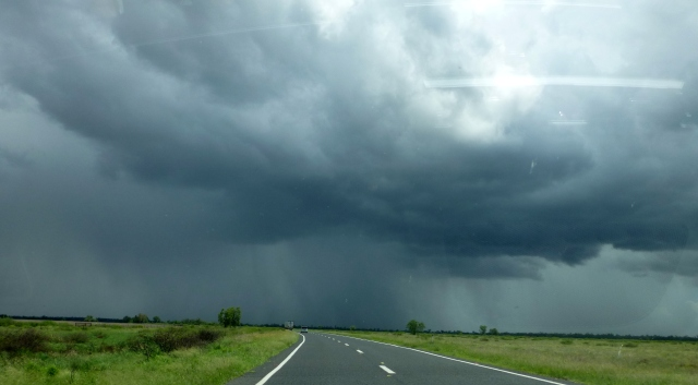 Rain on the highway travelling towards Morree