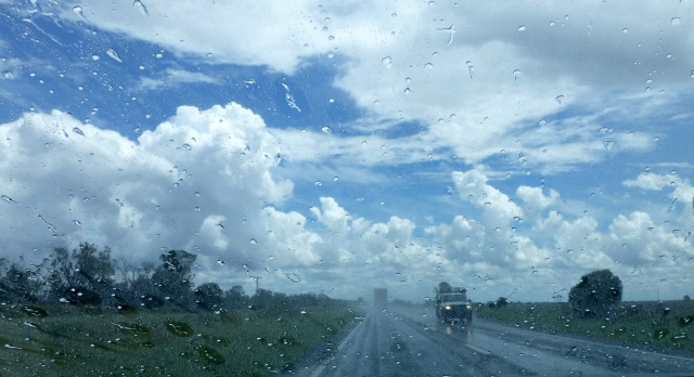 Rain on the windscreen travelling south toward Moree