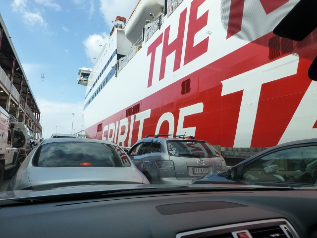 In the queue to board the ship
