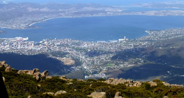 View of Hobart from Mt Wellington.