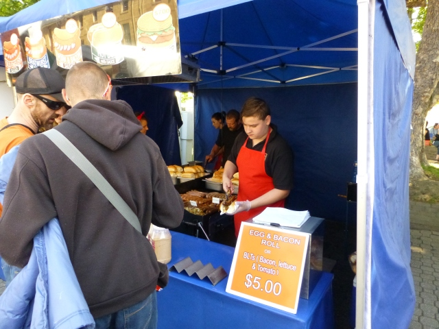 Hungry? need an egg and bacon roll at Salamanca Market