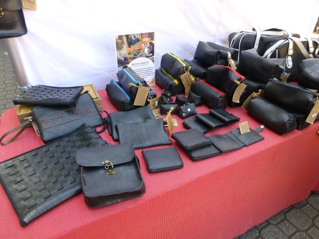 Products made from recycled rubber on sale at Salamanca Market