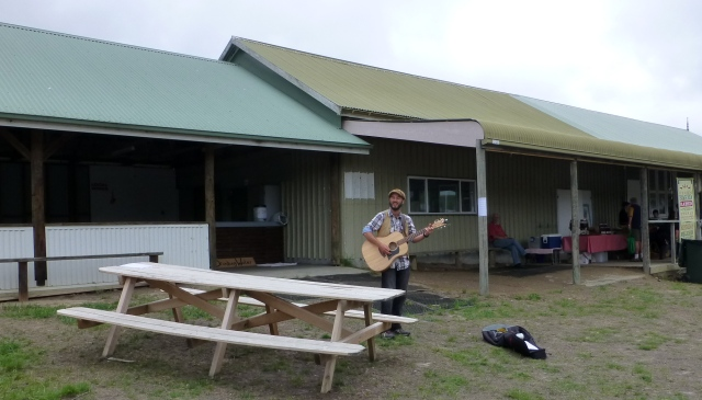The fellow sang and sang at Bream Creek Farmers Market