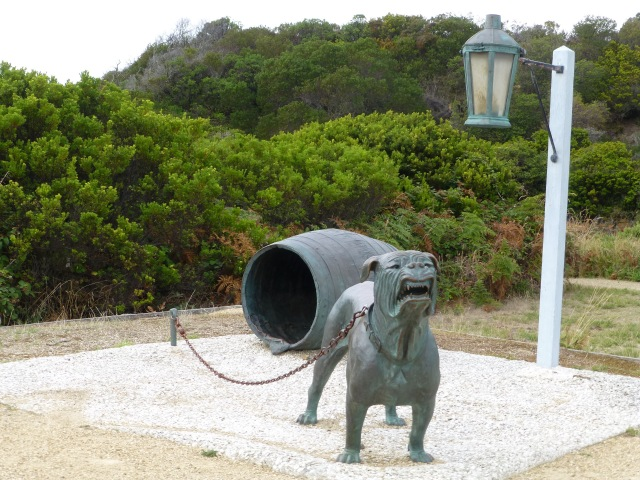 Monument indicating the Dog Line at Eaglehawk Neck
