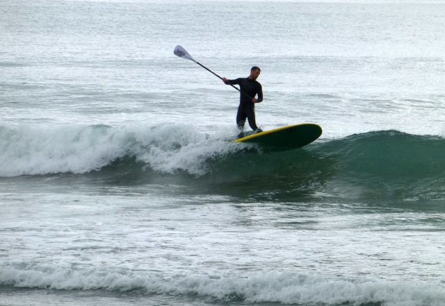 Stand Up Paddle Boarder surfing on the beach near the Dog Line at Eaglehawk Neck