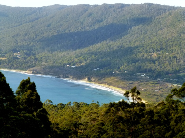 The view from Coastal Cliffs lookout above Eaglehawk Neck