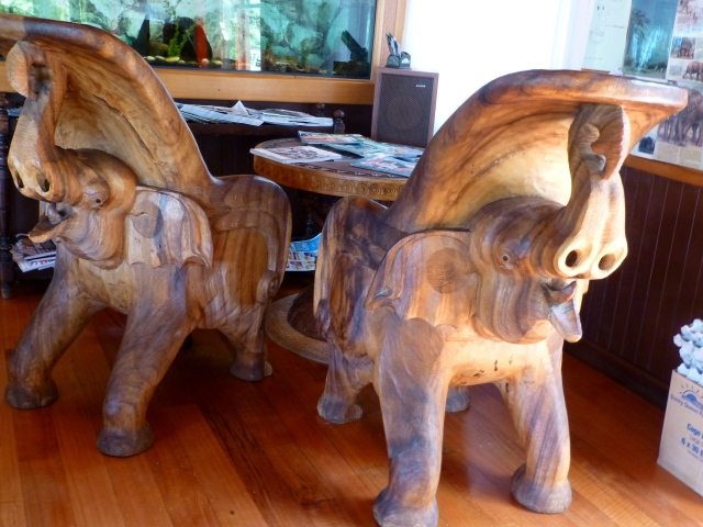 Unusual elephant chairs Inside Mt Elephant Pancakes