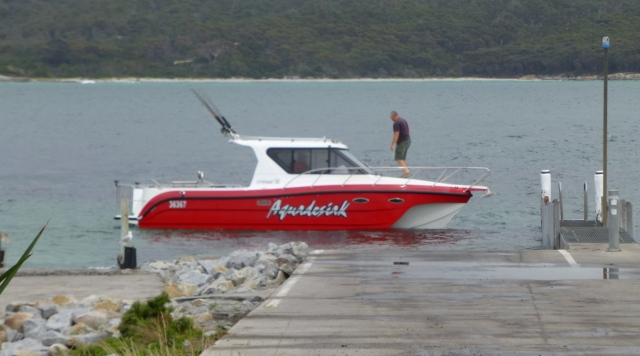 Fishing Vessel just launched near St Helens Point