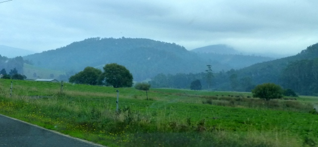 A smoke haze clouded the landscapes as we drove