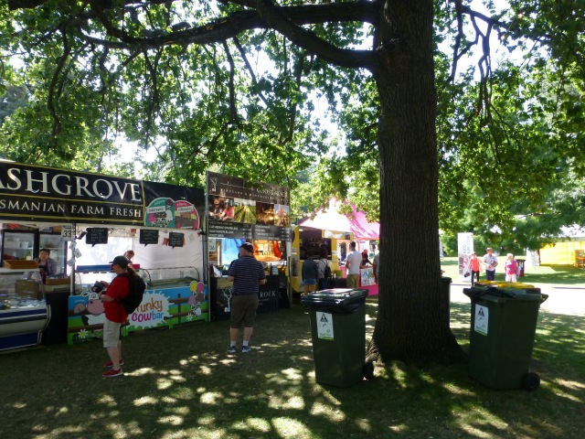 Stalls at Festivale 2016 in City Park Launceston