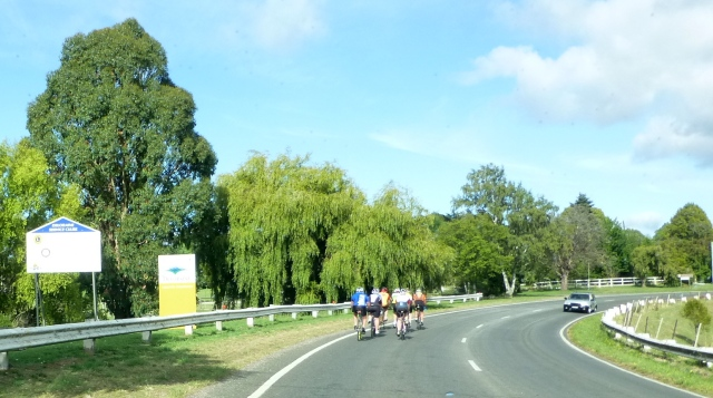 We encountered these cyclists on the way in to Deloraine and had to follow them for a while