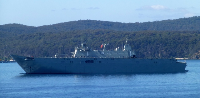 The naval vessel at Twofold Bay