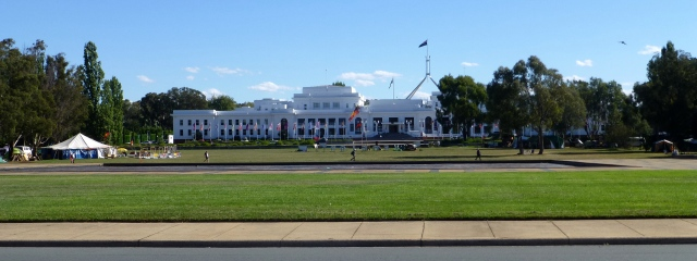 Old Parliament House showing some of the Aboriginal Tent Embassy